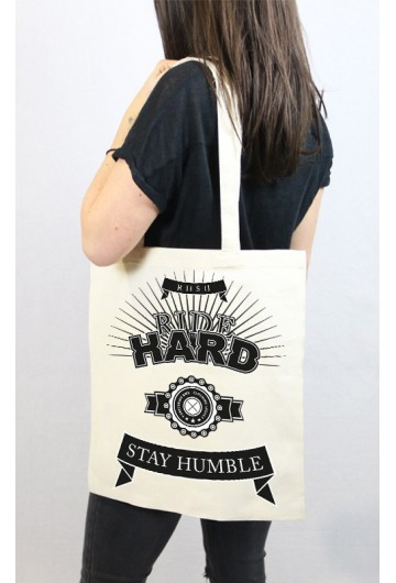 Tote bag noir Stay Humble