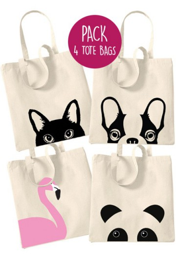Pack tote bag animaux