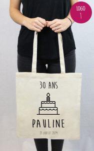sac en coton personnalisable anniversaire Pauline