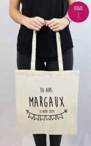 tote bag en coton personnalisable anniversaire Margaux