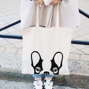 tote bag en coton bouledogue