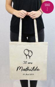 tote bag personnalisable anniversaire Mathilde