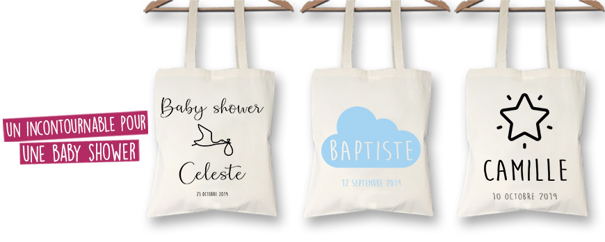 idée de cadeau baby shower tote bag