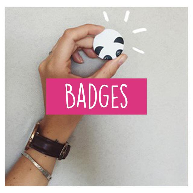 Badge panda blanc et noir